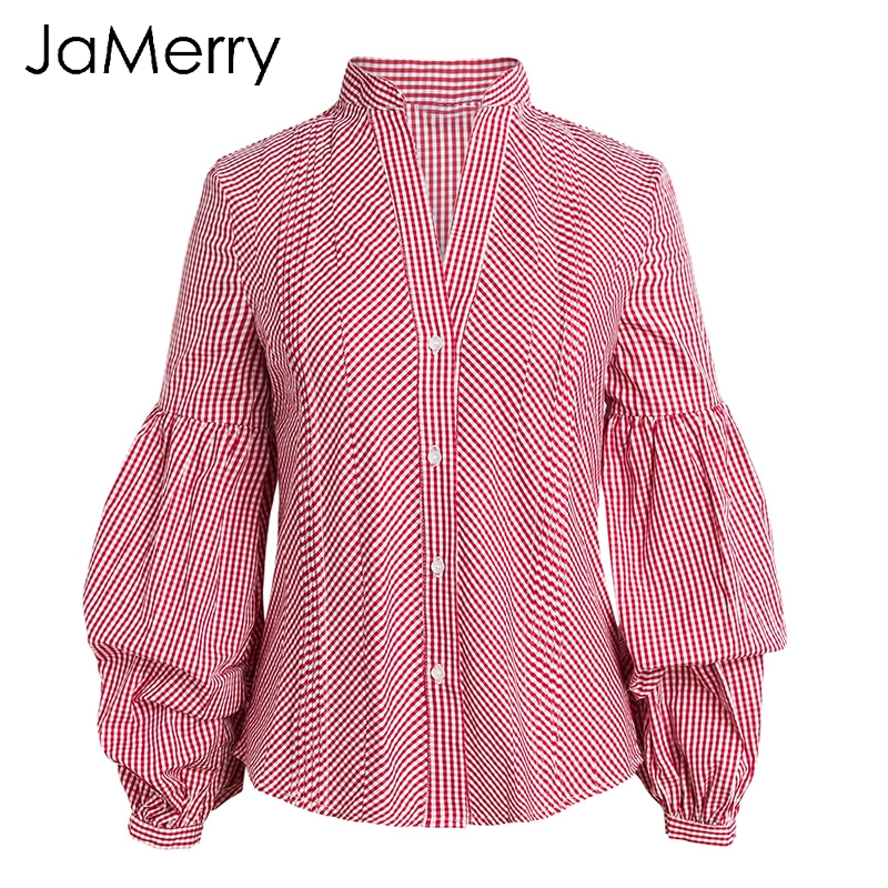 Clothes Sale Jamerry 2018 Spring Casual Plaid Blouse Shirt Summer