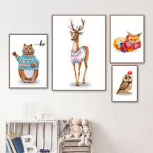 Watercolor Bear Deer Fox Owl Wall Art Canvas Painting Nordic Posters And Print Animal Pictures For Living Room Home Decor