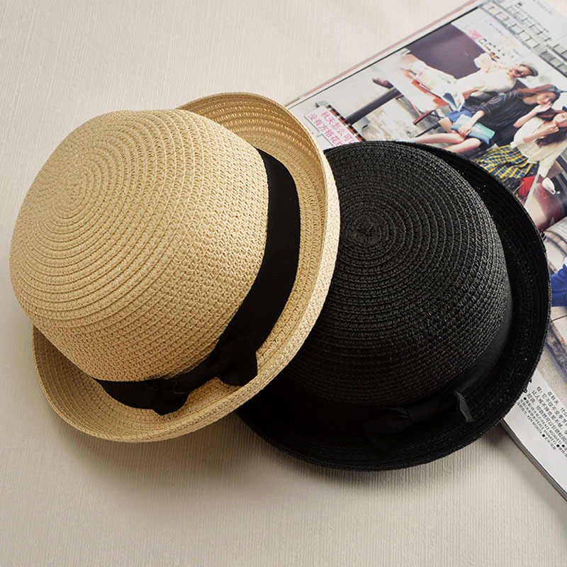 8d38a6d6f63 ... wholesale Lady Boater sun caps Ribbon Round Flat Top Straw Fedora  Panama Hat summer hats for ...