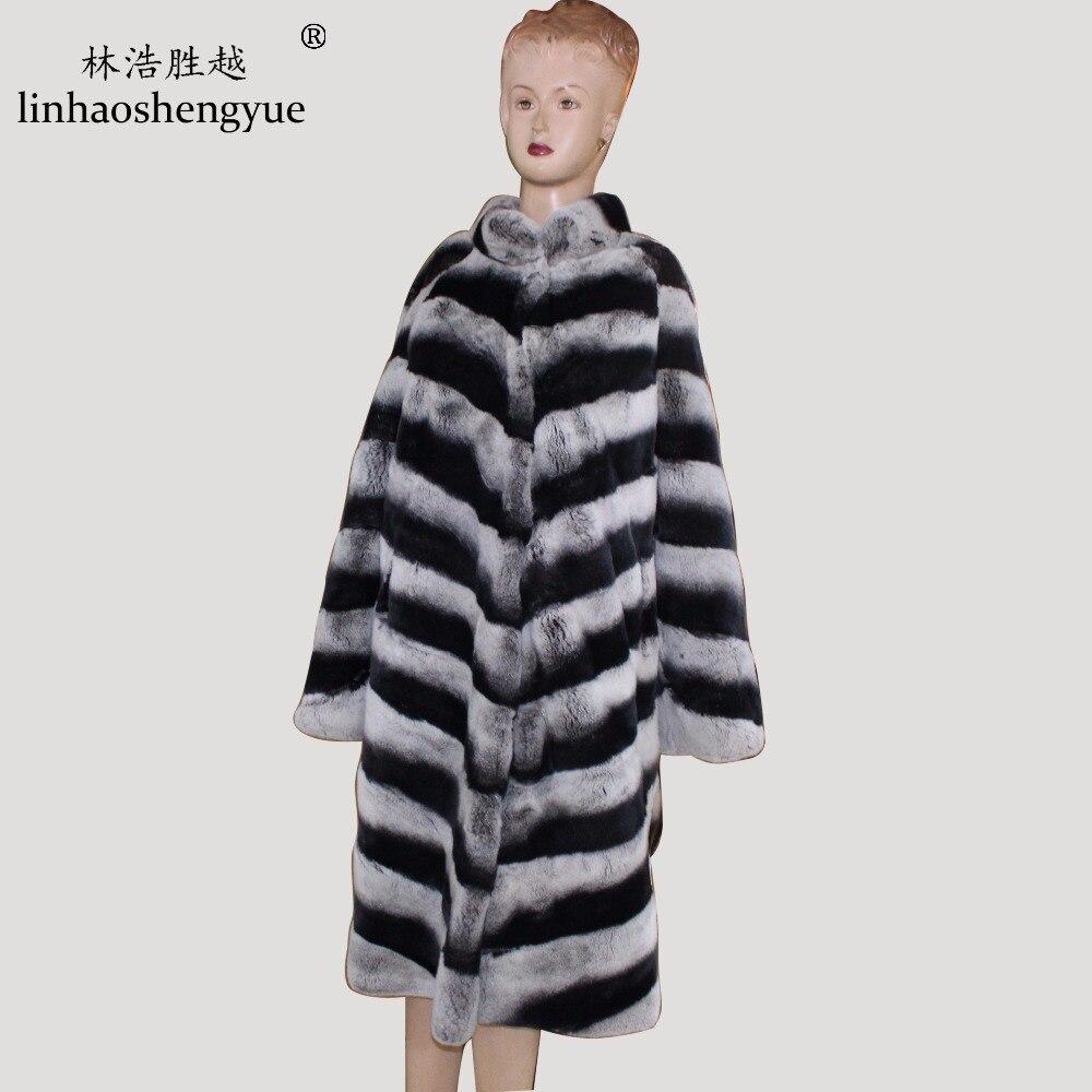 Livraison D'hiver 55 Vraie 110 De Fshion Gratuite Linhaoshengyue Femmes Lapin Rex Manches Chaud Manteau 2017 Cm Fourrure Long Iaw06