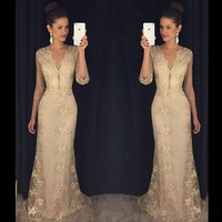 Sexy Gold Lace Mermaid Evening Dresses With 3 4 Sleeves Deep V Neck Robe De Soiree