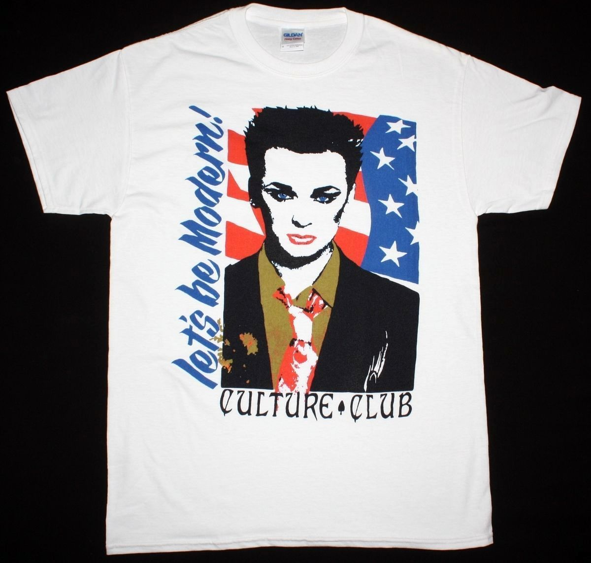 CULTURE CLUB LET'S BE MODERN BOY GEORGE NEW WAVE BOW WOW WOW NEW WHITE T-SHIRT Cool T Shirts Designs Best Selling Men image