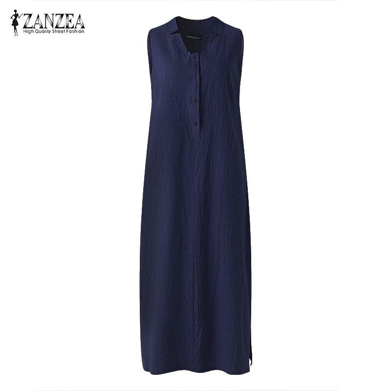 ZANZEA Oversized Loose Solid Maxi Long Dress Women Summer V Neck Sleeveless Party Dress Sexy Split Hem Cotton Dresses Vestidos