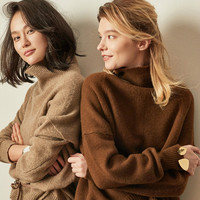 Autumn and winter new cashmere sweater loose retro wool women's turtleneck sweater knit sweater warm fashion pullover
