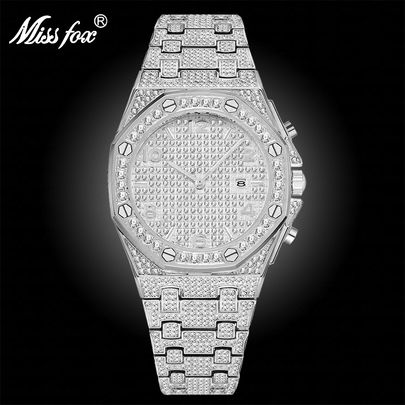 MISSFOX Big Silver Watch Women Quartz Watch Diamond Ladies Bling Arabic Numbers Woman Watches Top Brand