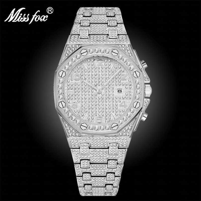 MISSFOX גדול כסף שעון נשים קוורץ שעון יהלומי גבירותיי בלינג ערבית מספרי אישה שעונים למעלה מותג יוקרה מתנות לנשים