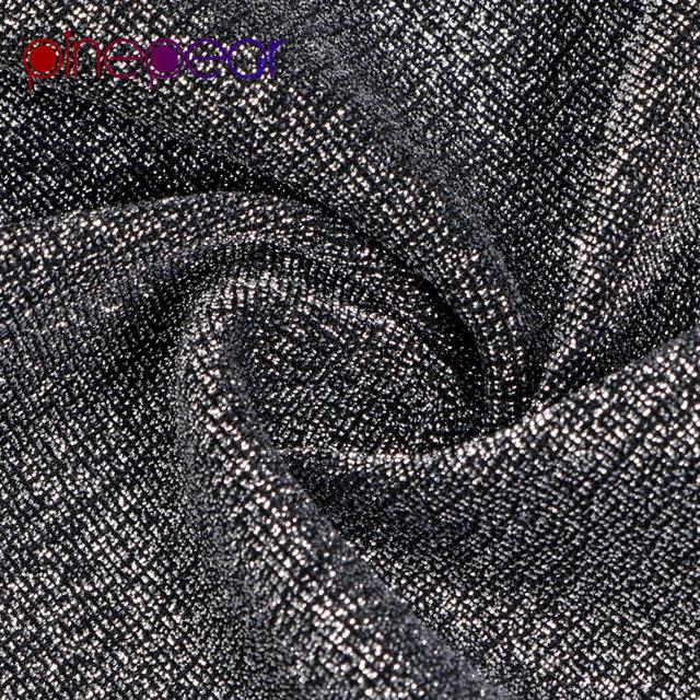 PinePear Silver Black Glitter Lurex Dress 2019 NEW Winter Women Long Sleeve Deep V Neck Sexy High Split Dress Drop Shipping