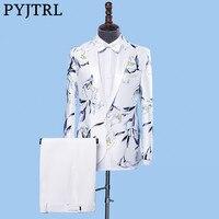 PYJTRL Homens Moda Floral Print Blazer Com Calças Cantor Fase Conjunto de Duas Peças Ternos de Casamento Do Noivo Vestido de Traje Homme 2018