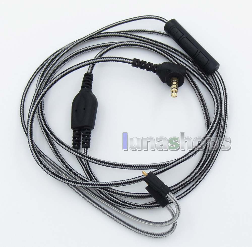 Black And White With Mic Remote Earphone Audio Cable For Ultimate Ears UE TF10 SF3 SF5 5EB 5pro TripleFi 15vm TF15