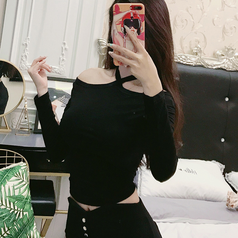 Tee Shirt 2018 Autumn Fashion New Off Shoulder Hanging Neck Woman Tshirt Short Sexy Slim Womens Long Sleeve Tops Camiseta Mujer in T Shirts from Women 39 s Clothing