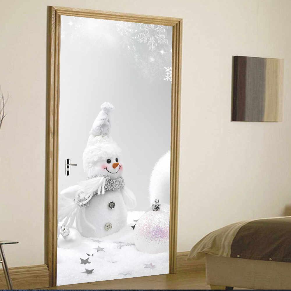 100% Merek Baru Kualitas Tinggi Natal Manusia Salju Pintu Penutup Penutup Liburan Natal Pintu Penutup Dekorasi Drop Pengiriman