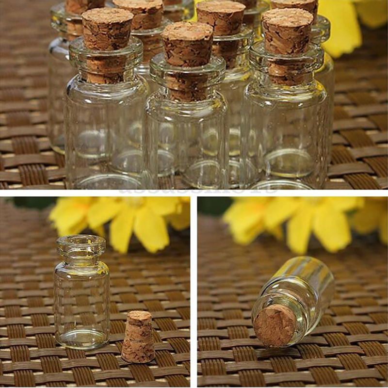 100pcs Free shipping 0.5ml Vials Clear Glass Bottles with Corks Miniature Glass Bottle Sample Jars 100pcs new 2ml clear glass roll on bottle with clear cap