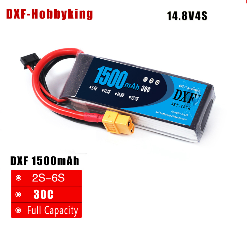 2017 DXF <font><b>lipo</b></font> battery <font><b>4S</b></font> 14.8V <font><b>1500mah</b></font> 30C max 50C For QAV250 210 FPV Drone RC race Drone Multirotor Helicopter rc car Battery image