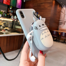 Cute cartoon Totoro Coin Purse case for iphone Xs MAX XR  7 8 6s with stand Soft TPU Cover For iPhone 7 8 6 6s Plus Shell Case crazy horse genuine leather shell with stand for iphone 6s 6 4 7 inch brown