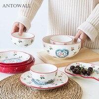 JaJpanese вишня разработан керамические пластины суши соевый соус блюдо чаша для риса, набор посуды Подарочная коробка на 4 персоны (10 шт./компл.)