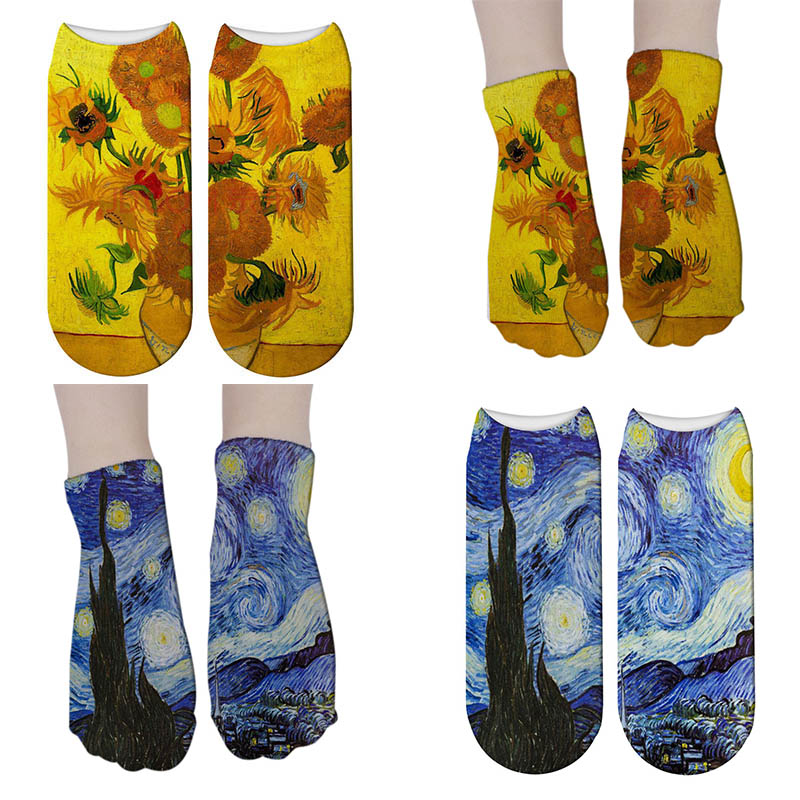 <font><b>3d</b></font> <font><b>Painting</b></font> Printed <font><b>Socks</b></font> <font><b>Funny</b></font> Sunflower <font><b>Retro</b></font> <font><b>Art</b></font> Low Cut Short <font><b>Socks</b></font> for <font><b>Women</b></font> <font><b>Men</b></font> <font><b>Unisex</b></font> Vintage calcetines mujer 5ZJQ-ZWS28 image