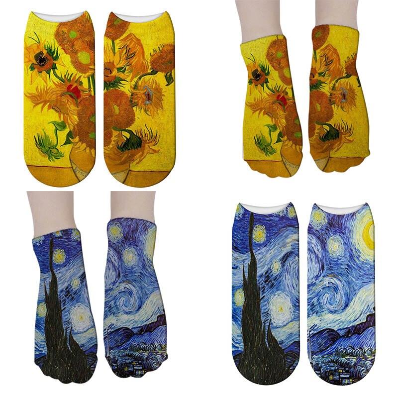 3d Painting Printed Socks Funny Sunflower Retro Art Low Cut Short Socks For Women Men Unisex Vintage Calcetines Mujer 5ZJQ-ZWS28