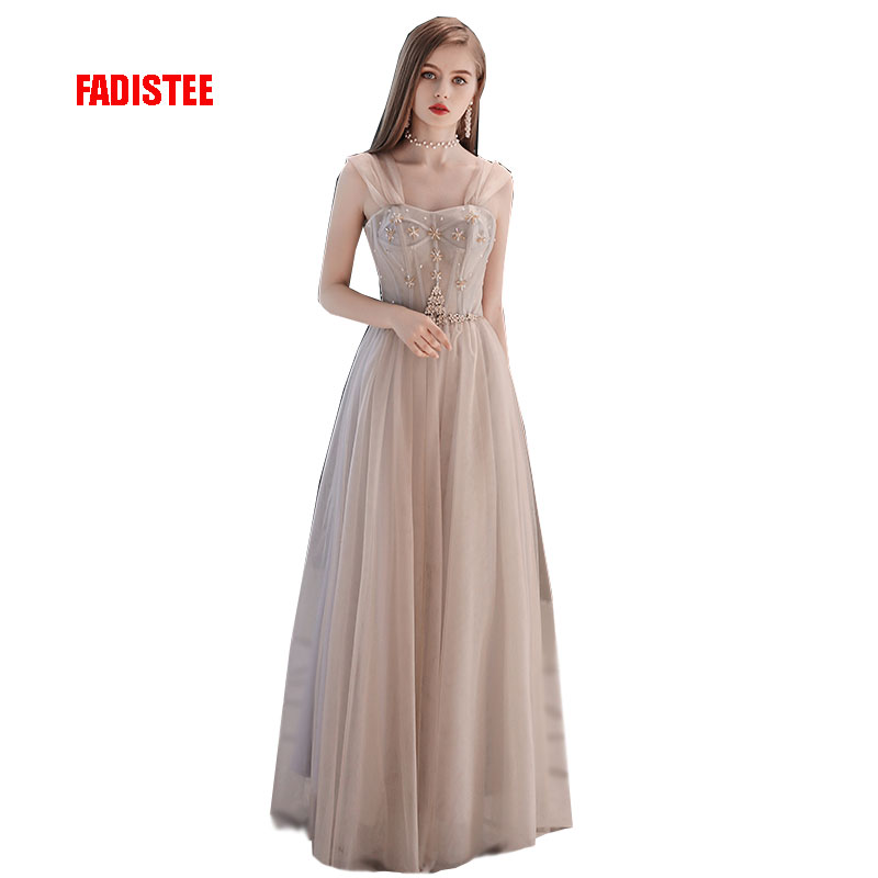 FADISTEE New arrival modern party dress evening dresses prom tulle Vestido de Festa strapless bead crystal long style
