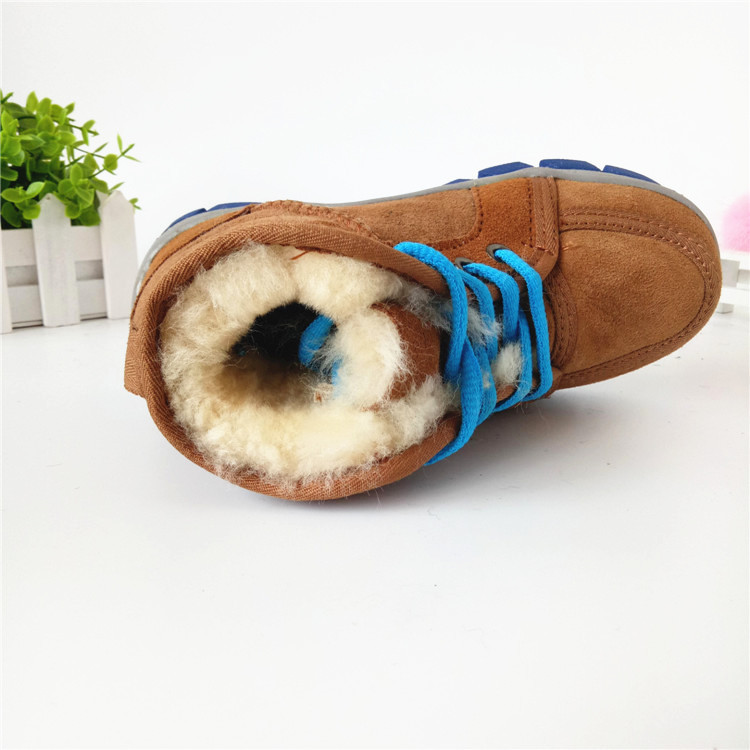 Children Boots Boys Winter Snow Boots 100% Real Sheep Plush Warm Footwear Leather Boys Shoes Kids Martin Winter Sneakers 2016 new winter kids snow boots children warm thick waterproof martin boots girls boys fashion soft buckle shoes baby snow boots