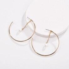 df1555e069616 Fashion Women Jewelry Modern Design Pearl Drops Copper Circle Hoop Earrings  for Women(China)