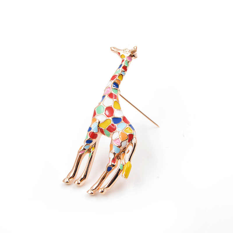 Cinkile Jerapah Bros untuk Wanita Lucu Hewan Bros Pin Fashion Perhiasan Emas Warna Hadiah untuk Anak-anak Indah Enamel Bros Baru