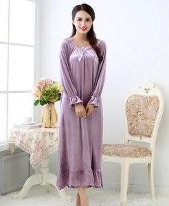 Image 4 - Fdfklak robe de nuit longue en velours pour femme, tenue de nuit en velours, grande taille, printemps automne, nouvelle collection pyjama pour femmes robe de nuit Q1468