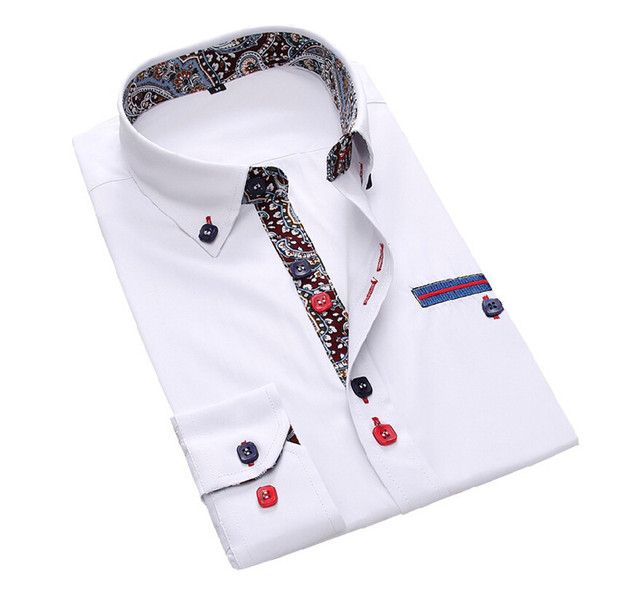 2017 Новый Тонкий Мужчины Качество Рубашка Slim Fit С Длинным Рукавом Повседневная Рубашка Чистый Цвет Хлопка Мужские Рубашки Размер M-3XL