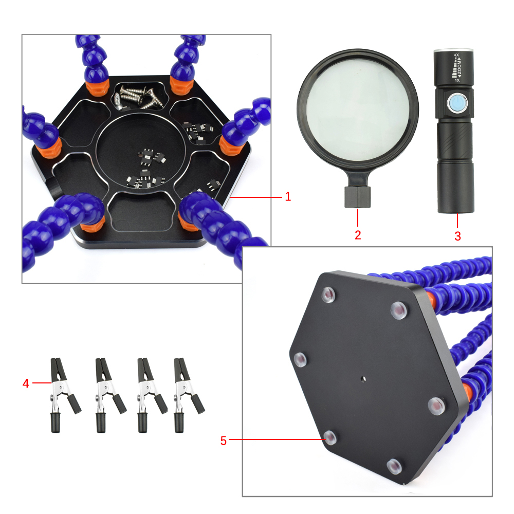 Newacalox Third Hand Soldering Pcb Holder Tool Six Arms Helping Home Panavise Large Circuit Board Dsc 06510125