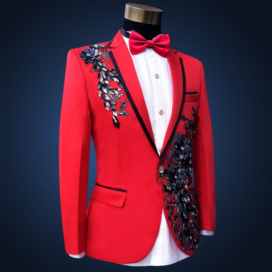 Мужской тонкий красный свадебный костюм, страстный мужской певец и ведущий вечерний костюм, одежда для сцены, вышитые цветочные костюмы с п... - 3