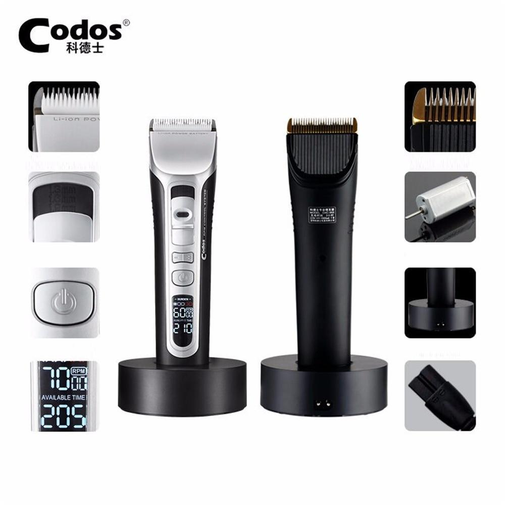 Codos CHC 968 Professional Hair Clipper Hair Trimmer Titanium Ceramic Blade Electric Hair Cutting Machine LCD Display 100 240V-in Hair Trimmers from Home Appliances