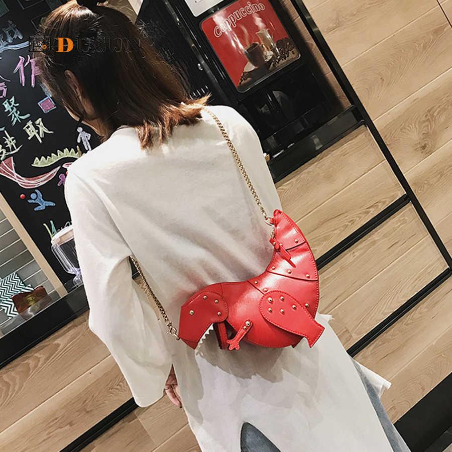 DUSUN Rebite Personalidade Projeto do Dinossauro Moda Crossbody Couro Mini Cadeia Bolsa Saco Do Mensageiro Das Mulheres Ombro Fêmea Saco Saco do Presente