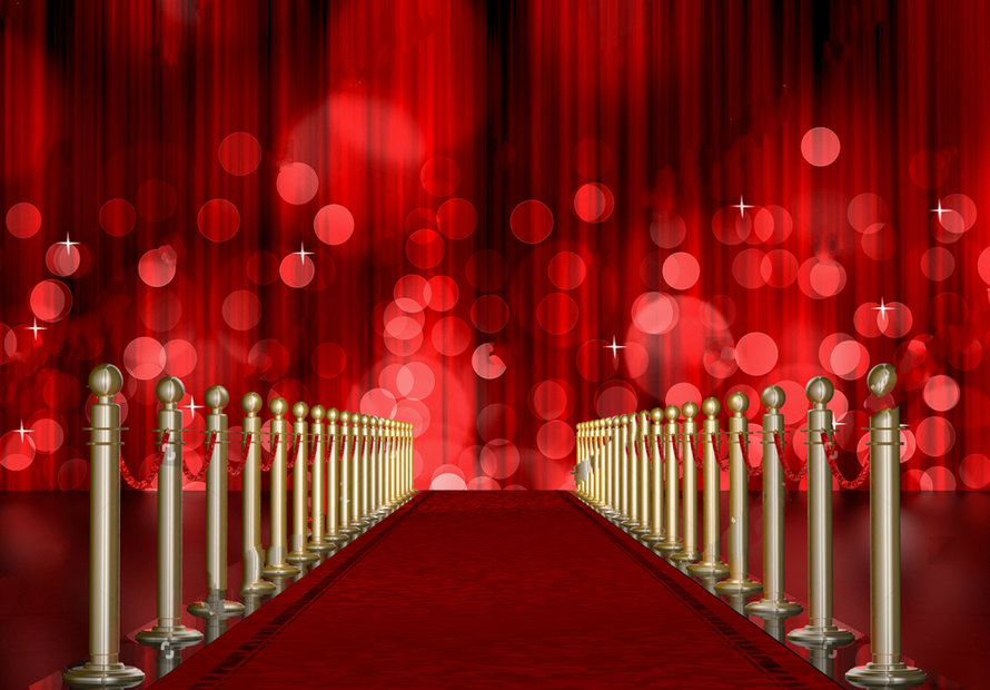 Red Carpet Entrance Stanchions Ropes Red Light Curtain backgrounds Vinyl cloth Computer print wall photo backdrop wallpaper headboard bed photo backdrop portrait cloth computer printed bedroom backgrounds