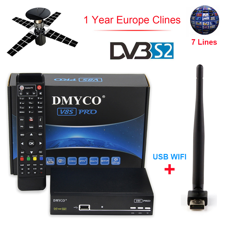 DMYCO V8S Pro HD DVB-S2 Receptor 1 Year Clines Satellite Decoder + USB WIFI HD 1080p Support BISS Key Powervu Satellite Receiver de it es channels dvb s s2 satellite fta lines 1 year cccam clines newcamd usb wifi satellite tv receiver for free shipping