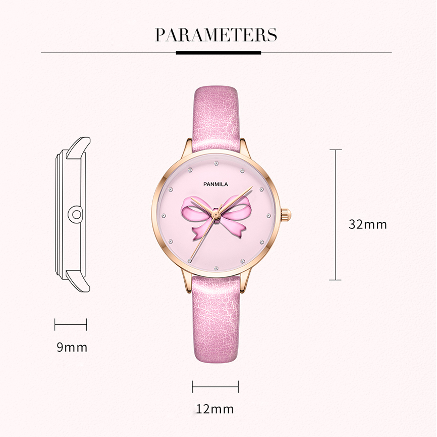 Panmila Brand Girls Pink Leather Watches For Women Crystal Bow Dial Quartz Watch Ladies Student Dress Wristwatch Clock Gift