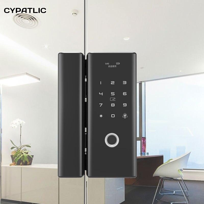 Serrure de porte en verre d'empreinte digitale cypatlique serrure de porte électronique serrures de porte intelligentes carte de mot de passe d'empreinte digitale pour le bureau à la maison Anti-vol