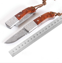 Damascus steel knife folding pocket knife Manual outdoor portable folding knife utility fruit knife mini rosewood handle