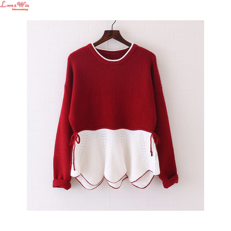Cashmere Slim Lace up Waist Knitting Sweaters Color Contrast Women Ruffles Woolen Sweater Pullovers