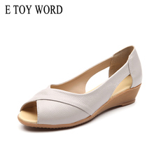 E TOY WORD Women Sandals Genuine Leather Wedge Open Toe Sandals women 2019 Summer Ladies Shoes Casual Plus Size Sandals 41-43 timetang summer women shoes woman fashion genuine leather open toe sandals ladies casual platform wedges plus size sandals c213