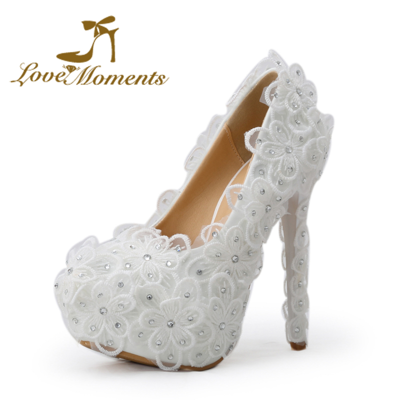 Love Moments Glittering handmade white lace flower and crystal Platform bridal High Heels Women wedding Dress shoes size 34-43