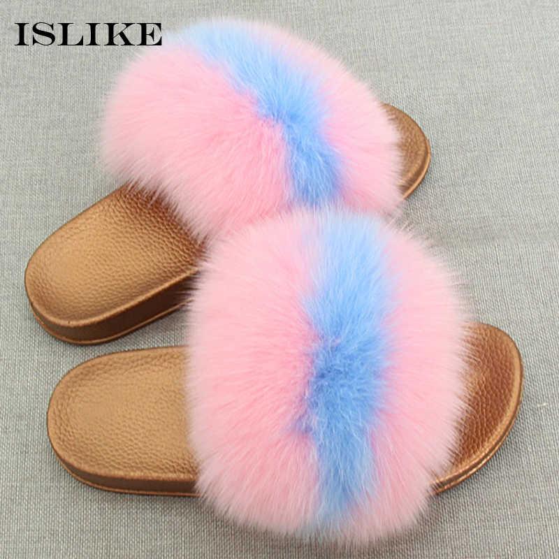 671c62849 New Summer Women Fur Slippers Fluffy Really Fox Hair Flip Flop Bling Slides  Golden PVC Non