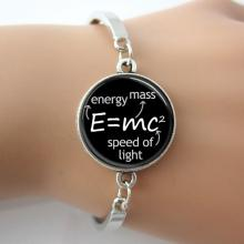 Letters Bangle,Science Jewelry,E mc2 Albert Einstein Math Physics Bracelet,Black And White Art Picture GIft For Science A008