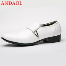 ANDAOL Mens Leather Casual Shoes Top Quality Bright Pointed Toe Massage New Luxury Lace-Up Office Business