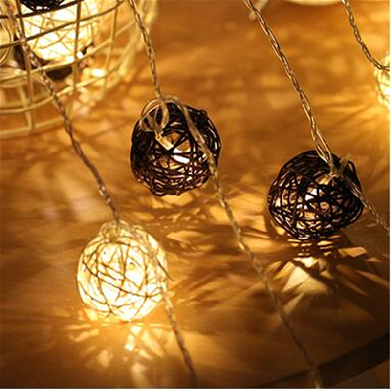 4M 20 LED String Fairy lights 4cm Mixed White-Brown Rattan Ball 110V/220V for Christmas Party Wedding Decorative Lighting