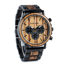 BOBO BIRD Wood and Stainless Steel Watches Luminous Hands Stop Watch Mens Quartz Wristwatches in Wooden Box