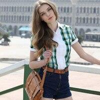 VERI GUDE Summer 2014 Women S Short Sleeve Plaid Shirt