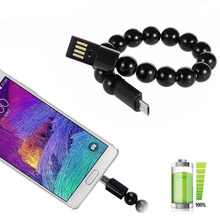 Outdoor Bracelet Beads Portable Phone USB Cable For Type C Charger iPhone 6 6s Samsung Micro Android Phones