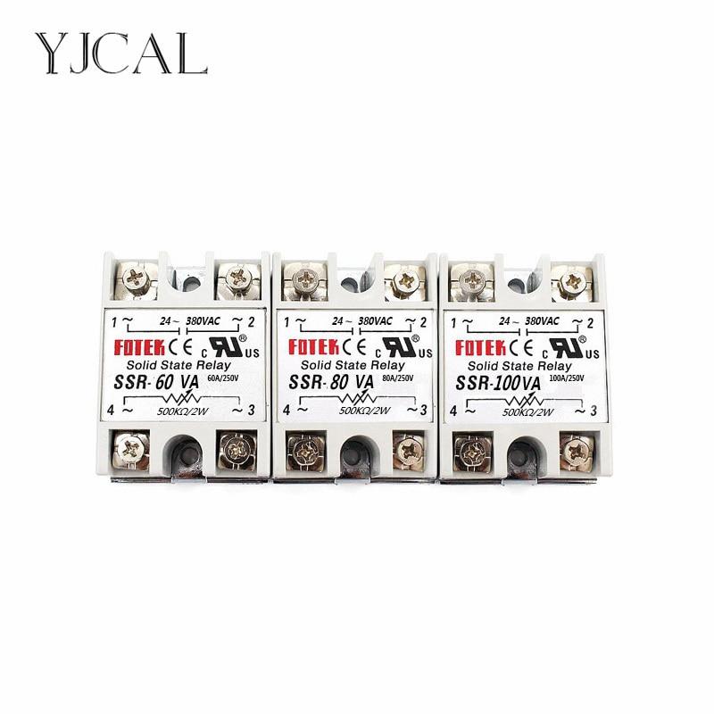 цена на YJCAL Solid State Relay SSR-60VA SSR-80VA SSR-100VA 60A 80A 100A Relais Regulator 24-380VAC Output SSR 60VA 80VA 100VA