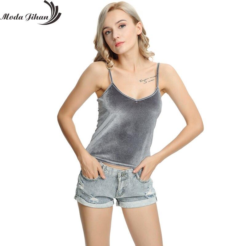 Moda Jihan New Velvet Tank Tops Women Camisole Vest Soft Velour Comfy And Stretchable Short Ladies V Neck Slim Sexy Camis Tops