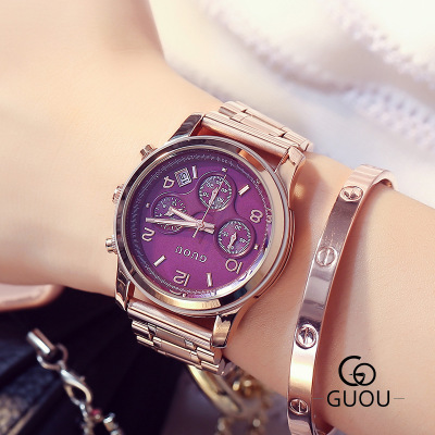 New Luxury Ladies stainless steel Watch Fashion Three eyes Quartz Women Watches Casual waterproof Wrist Watch relogio feminino grafalex fm 480