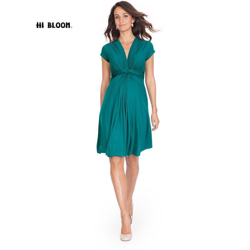 Tencel/модные летние платья для беременных с v-образным вырезом, короткое платье для беременных, элегантная одежда для беременных, длина до кол...